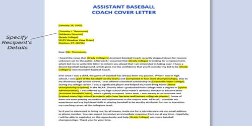 Cover Letter for Assistant Coach