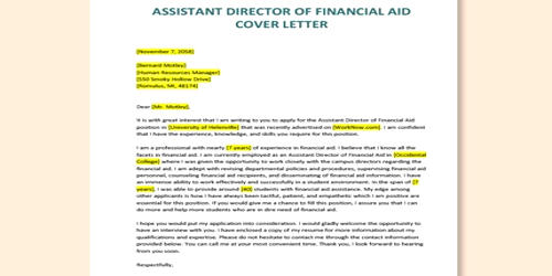 Cover Letter for Assistant Director of Financial Aid