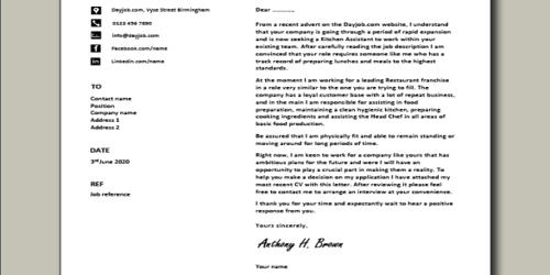 Cover Letter for Assistant Kitchen Manager