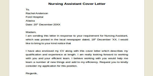 Cover Letter for Assistant Nurse