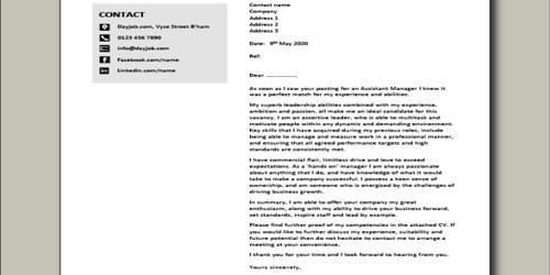 Cover Letter for Assistant Restaurant Manager