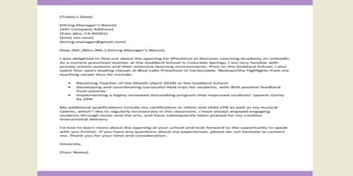 Cover Letter for Assistant Teacher