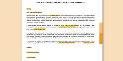 Cover Letter for Associate Consultant
