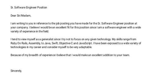 Cover Letter for Associate Software Engineer