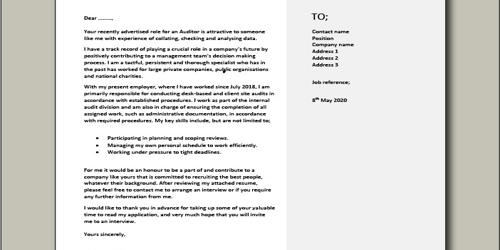 Cover Letter for Audit Specialist