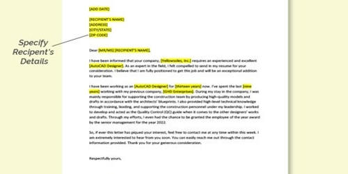 Cover Letter for AutoCAD Designer