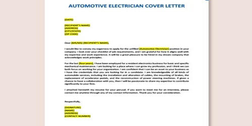 Cover Letter for Automotive Electrician