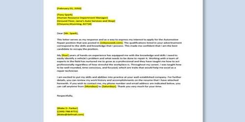 Cover Letter for Automotive Mechanic