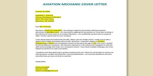 Cover Letter for Aviation Mechanic