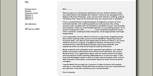 Cover Letter for External Auditor