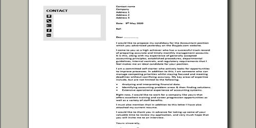 Cover Letter for Trainee Accountant