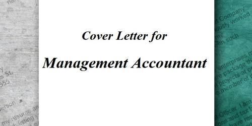 Cover Letter for Management Accountant