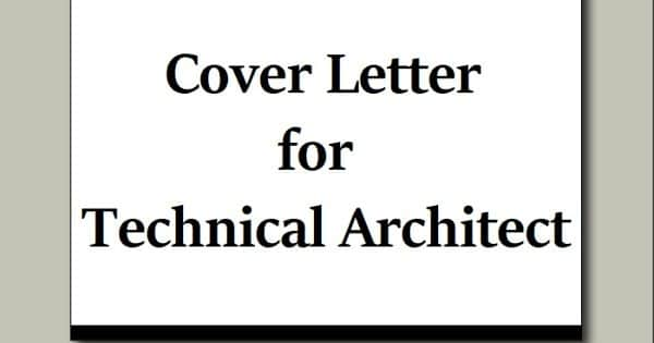 Cover Letter for Technical Architect