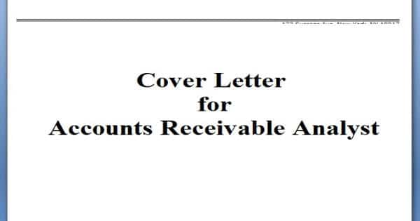 Cover Letter for Accounts Receivable Analyst