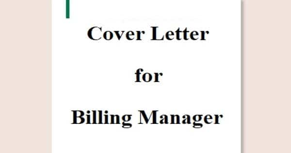 Cover Letter for Billing Manager