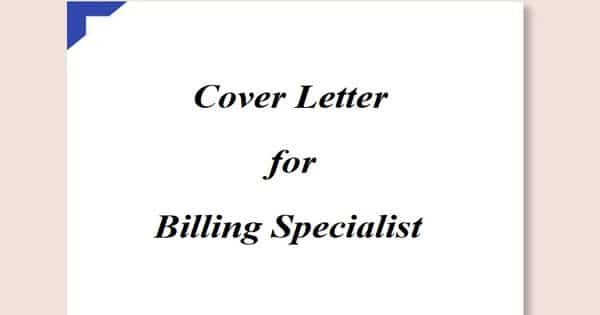 Cover Letter for Billing Specialist