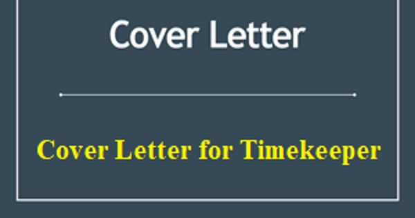 Cover Letter for Timekeeper
