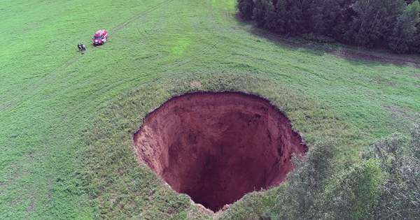 In Siberia A Giant Gaping Crater Has Been Blasted Open
