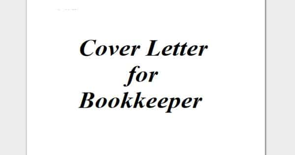 Cover Letter for Bookkeeper