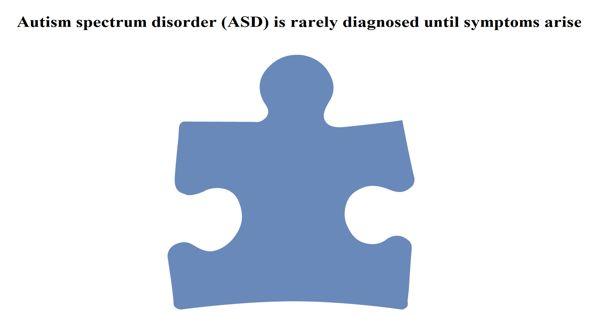 Autism spectrum disorder (ASD) is rarely diagnosed until symptoms arise