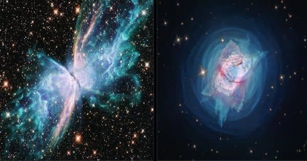 Butterfly Nebula and Jewel Bug Nebula captured by the Hubble Space Telescope