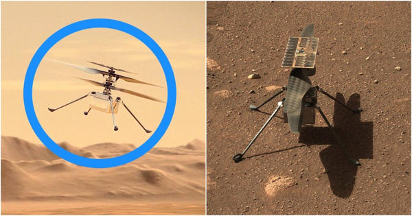 NASA's experimental helicopter Ingenuity flew on the dusty red surface of Mars